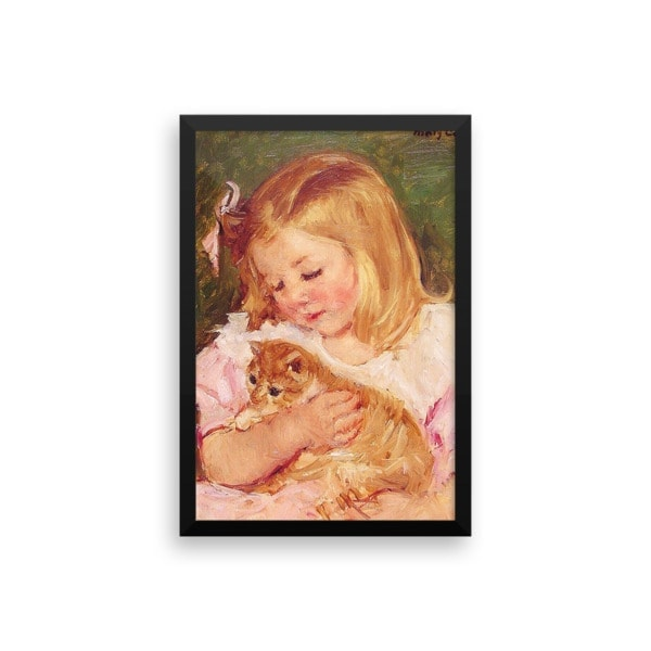 Mary Cassatt: Sara Holding a Cat, 1908, Framed Cat Art Poster, 12×18