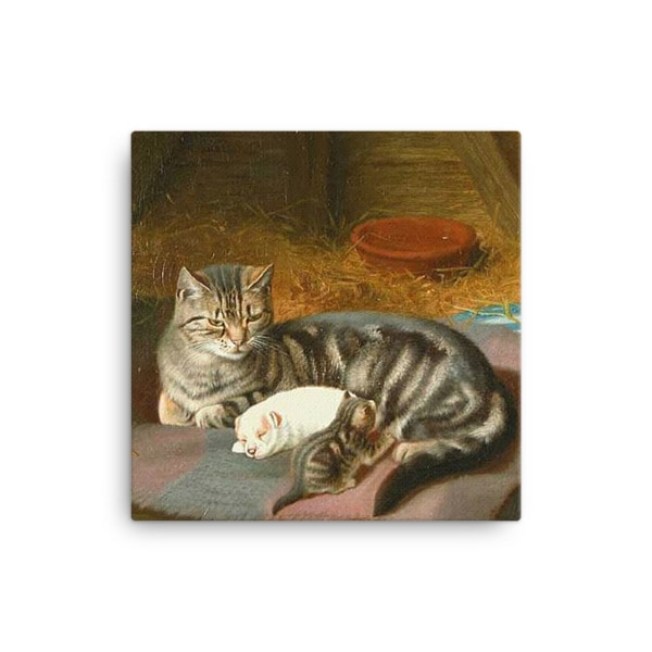 Horatio Henry Couldery: The Unexpected Guest, 1894, Canvas Cat Art Print, 16×16