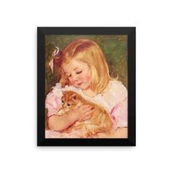 Mary Cassatt: Sara Holding a Cat, 1908, Framed Cat Art Poster, Mary Cassatt cat art