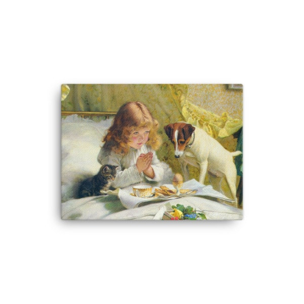 Charles Burton-Barber: Suspense, 1894, Canvas Cat Art Print, 12×16
