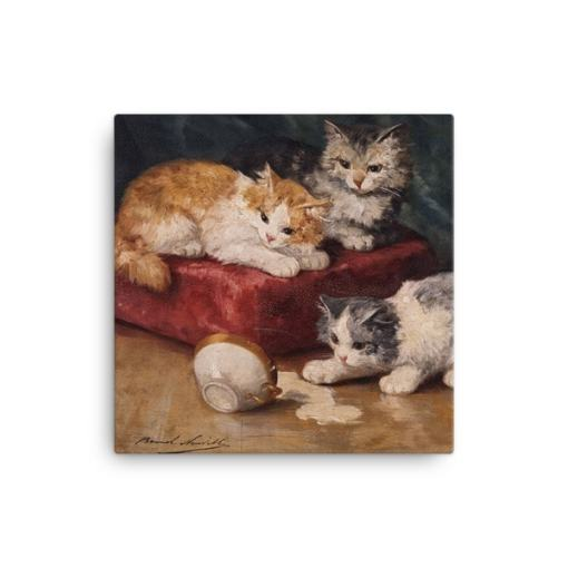 Alfred Brunel de Neuville: Les Chats, Before 1941, Canvas Cat Art Print, 16x16