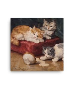 Alfred Brunel de Neuville: Les Chats, Before 1941, Canvas Cat Art Print, 16x16