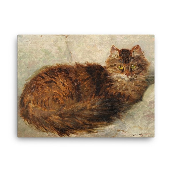 Henriette Ronner-Knip: Brown Cat Lying Down, Canvas Cat Art Print, 18×24
