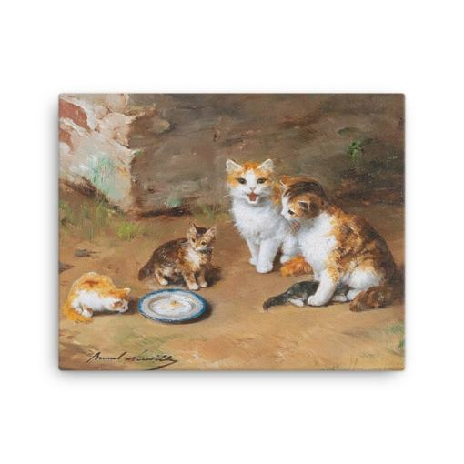 Alfred Brunel de Neuville: Cat Family, Before 1941, Canvas Cat Art Print, 16x20