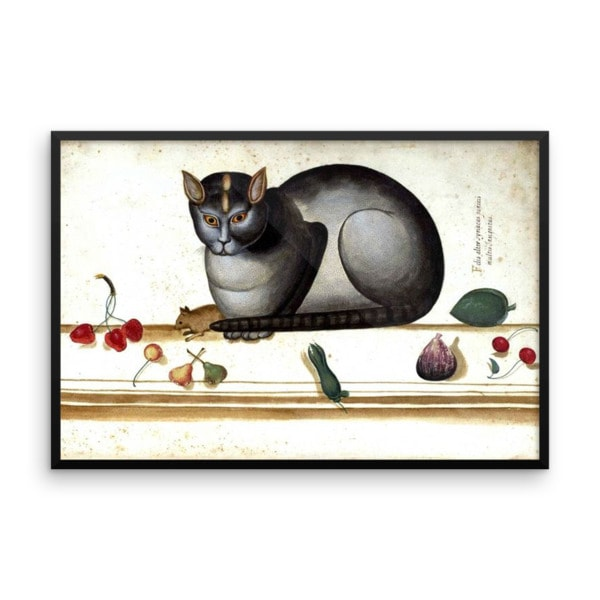 Ulisse Aldrovandi: Cat on a Ledge with Mouse and Fruit, 16×20