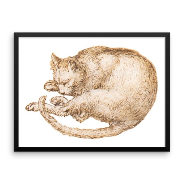 Leonardo da Vinci: Drawing of a Cat, 15th Century, Framed Cat Art Poster, 18×24
