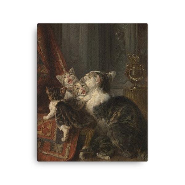 Louis Eugene Lambert: Mother Cat and Kittens, 19th century, Canvas Cat Art Print, 16×20