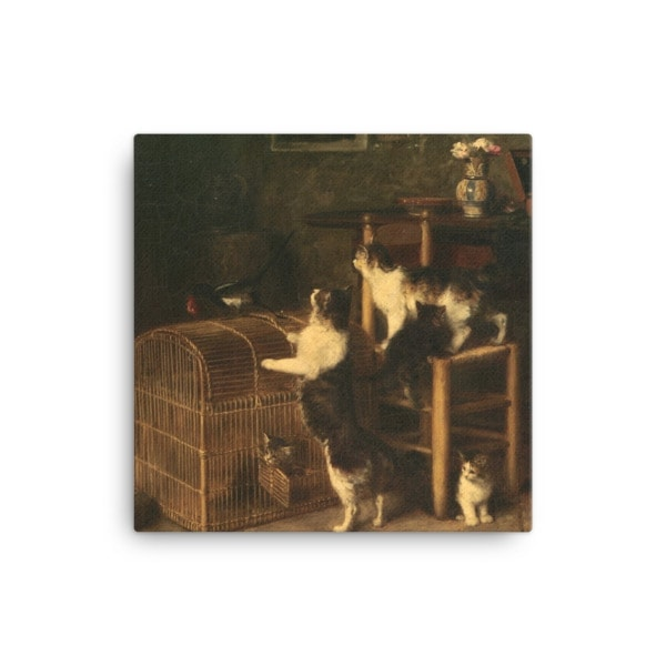 Louis Eugene Lambert: Invasion, 19th century, Canvas Cat Art Print, 12×12