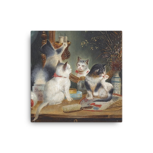 Carl Reichert: Kittens in the Boudoir, Before 1918, Canvas Cat Art Print, 12×12