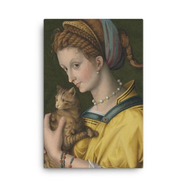 Francesco Bacchiacca: Portrait of a Young Lady Holding a Cat, 1525-30,canvas cat art print, 18×24