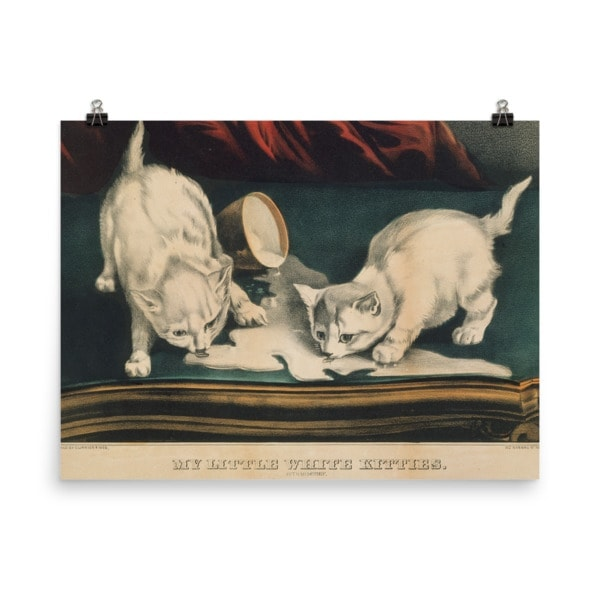 Currier and Ives: My Little White Kitties in Mischief, 1871, Cat Art Poster, 24×36