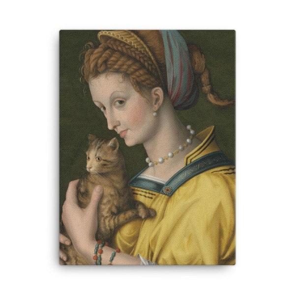 Francesco Bacchiacca: Portrait of a Young Lady Holding a Cat, 1525-30,canvas cat art print, 24×36