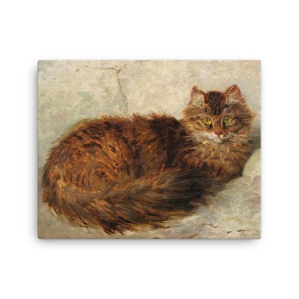 Henriette Ronner-Knip: Brown Cat Lying Down, Canvas Cat Art Print, 16×20