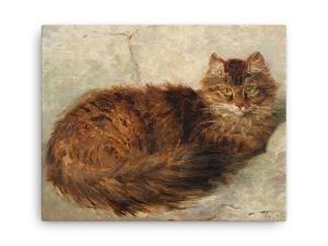 Henriette Ronner-Knip: Brown Cat Lying Down, Canvas Cat Art Print