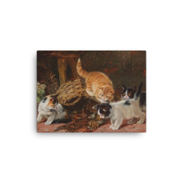 Julius Adam: Kittens and a Lobster, Before 1913, Canvas Cat Art Print, 12×16