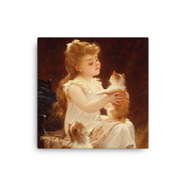 Emile Munier: Playing with the Kitten, 1893, Canvas Cat Art Print, 12×12