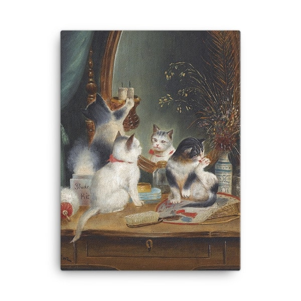 Carl Reichert: Kittens in the Boudoir, Before 1918, Canvas Cat Art Print, 18×24