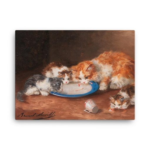 Alfred Brunel de Neuville: Mother Cat with Three Kittens, 19th C, Canvas Cat Art Print, mother cats-kittens