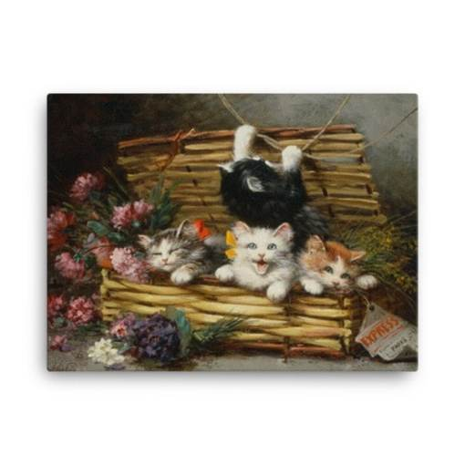 Leon Charles Huber: A Basket Full of Kittens (2), Before 1928, Canvas Cat Art Print