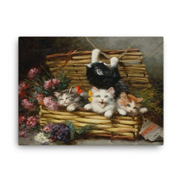 Leon Charles Huber: A Basket Full of Kittens (2), Before 1928, Canvas Cat Art Print, 24×36