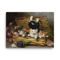 Leon Charles Huber: A Basket Full of Kittens (2), Before 1928, Canvas Cat Art Print