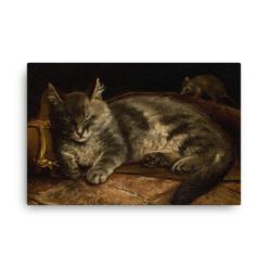 Adolf Von Becker: Sleeping Cat, 1864, Canvas Cat Art Print