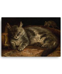 Adolf Von Becker: Sleeping Cat, 1864, Canvas Cat Art Print