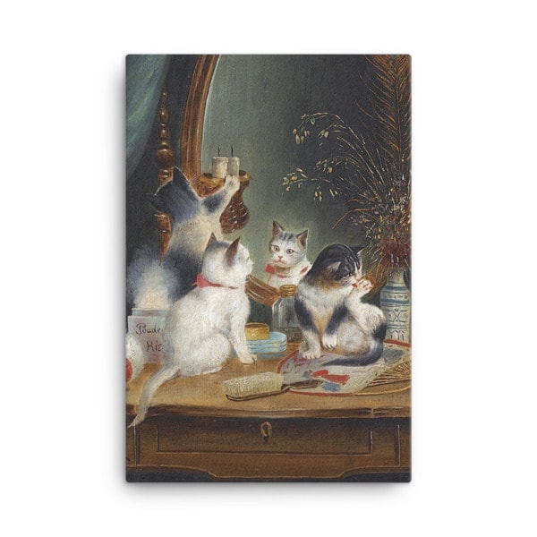 Carl Reichert: Kittens in the Boudoir, Before 1918, Canvas Cat Art Print, 24×36