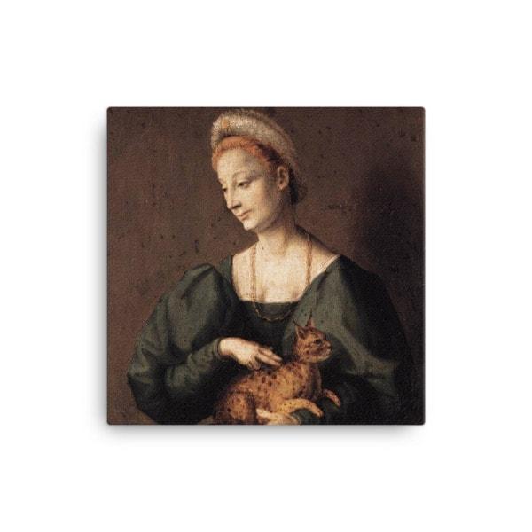 Francesco Bacchiacca: Woman with a Cat, 1540's canvas cat art print, 16×16
