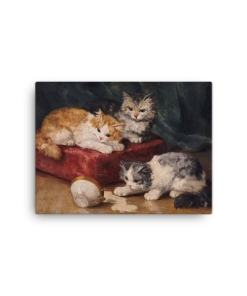 Alfred Brunel de Neuville: Les Chats, Before 1941, Canvas Cat Art Print, 12x16