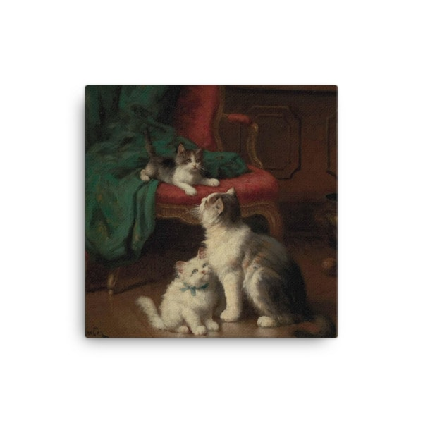 Leon Charles Huber: Mother Cat and Kittens, Before 1928, Canvas Cat Art Print, 12×12