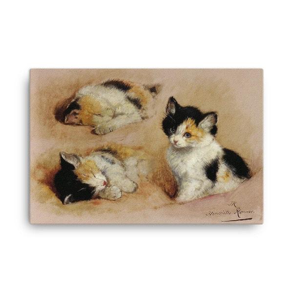 Henriette Ronner-Knip: Study of a Sleeping Kitten, Canvas Cat Art Print, 24×36