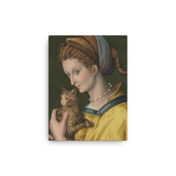 Francesco Bacchiacca: Portrait of a Young Lady Holding a Cat, 1525-30,canvas cat art print, 12×16