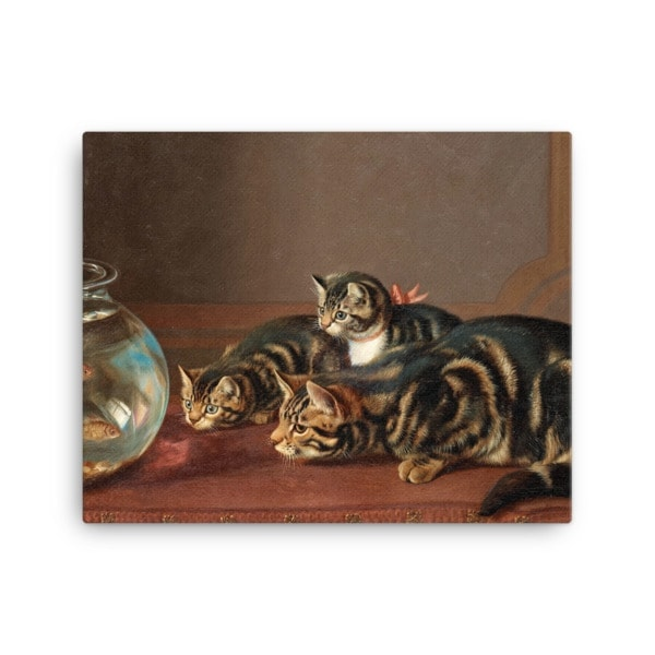 Horatio Henry Couldery: Cats by a Fishbowl, 19th Century Canvas Cat Art Print, 16×20