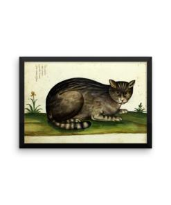 Ulisse Aldrovandi: Wild Cat from Natura Picta, 16th Century, Framed Cat Art Poster