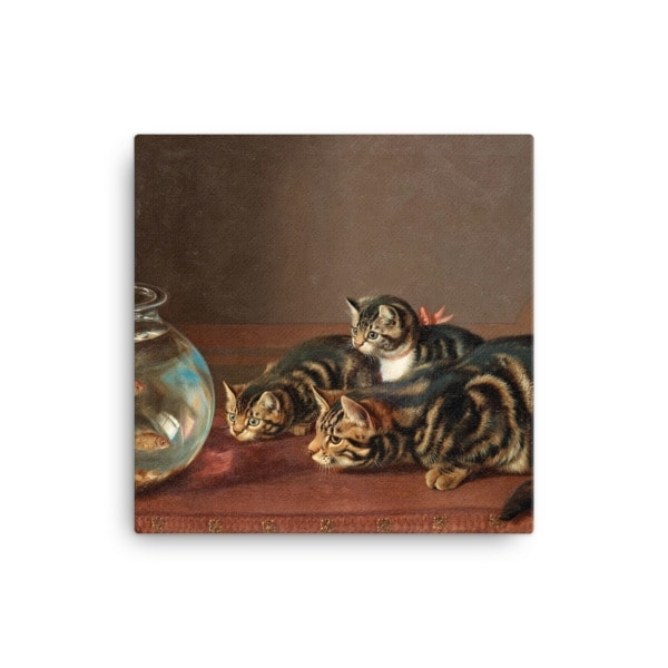 Horatio Henry Couldery: Cats by a Fishbowl, 19th Century Canvas Cat Art Print, 16×16