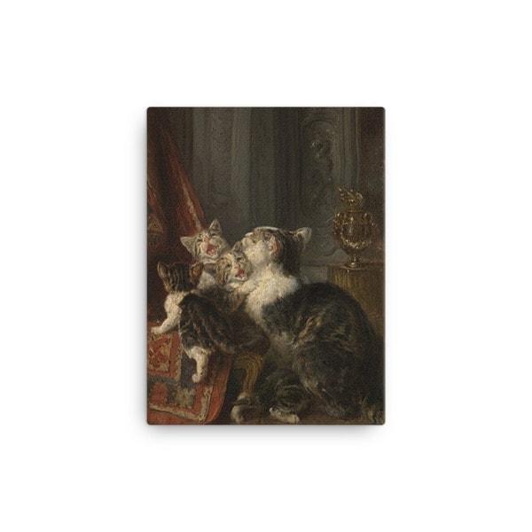 Louis Eugene Lambert: Mother Cat and Kittens, 19th century, Canvas Cat Art Print, 12×16