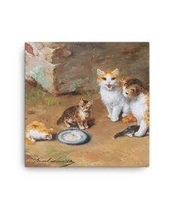 Alfred Brunel de Neuville: Cat Family, Before 1941, Canvas Cat Art Print, 16x16