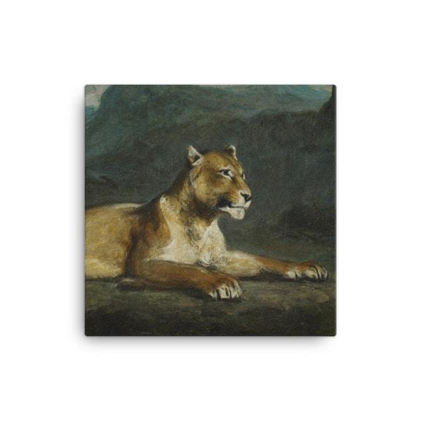 Eugene Delacroix: Lioness Reclining, 1855, Canvas Cat Art Print, 12×12