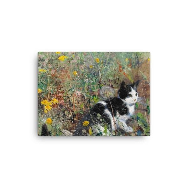 Bruno Liljefors: Cat in the Flowerbed, 1887, Canvas Cat Art Print, 12×16