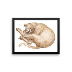 Leonardo da Vinci: Drawing of a Cat (2), 15th Century, Framed Cat Art Poster