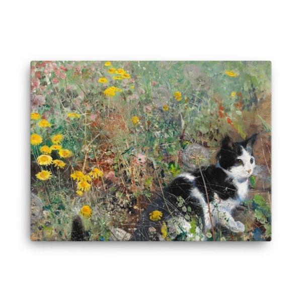 Bruno Liljefors: Cat in the Flowerbed, 1887, Canvas Cat Art Print, 18×24