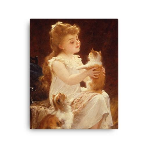 Emile Munier: Playing with the Kitten, 1893, Canvas Cat Art Print