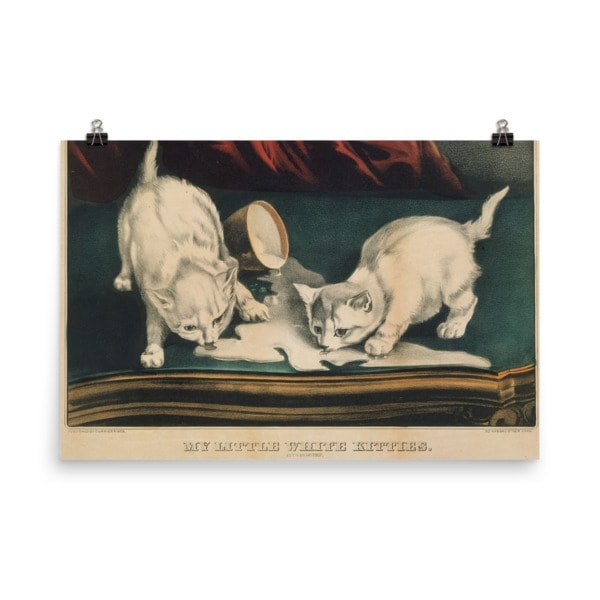 Currier and Ives: My Little White Kitties in Mischief, 1871, Cat Art Poster, 18×24