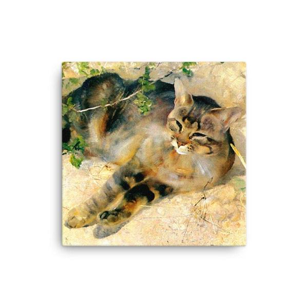 Bruno Liljefors: Sleeping Jeppe, 1886, Canvas Cat Art Print, 16×16