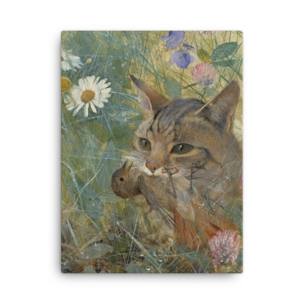 Bruno Liljefors: Cat with a Bird in its Mouth, 1885, Canvas Cat Art Print, 18×24