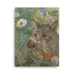 Bruno Liljefors: Cat with a Bird in its Mouth, 1885, Canvas Cat Art Print, cats hunting