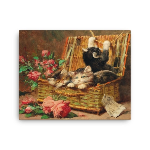 Leon Charles Huber: A Basket of Cats, Before 1928, Canvas Cat Art Print, 16×20
