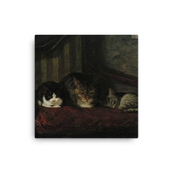 Adolf Von Becker: Cats in a Chair, 1863, Canvas Cat Art Print, 12×12