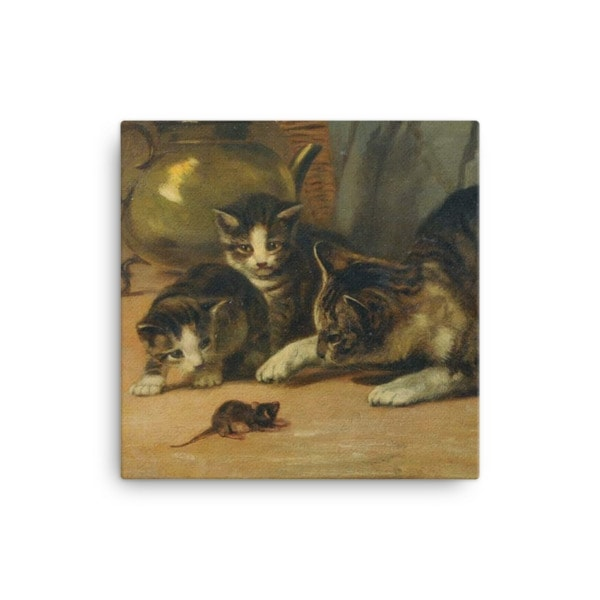 John Henry Dolph: Playing Cat and Mouse, 19th Century, Canvas Cat Art Print, 16×16